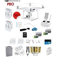 DJI Phantom 4 PRO Quadcopter Drone with 1-inch 20MP 4K Camera KIT, 2 Total DJI Batteries + 64 and 32GB Micro SD Cards + Reader 3.0 + Snap on Prop Guards + Range Extender + Charging Hub