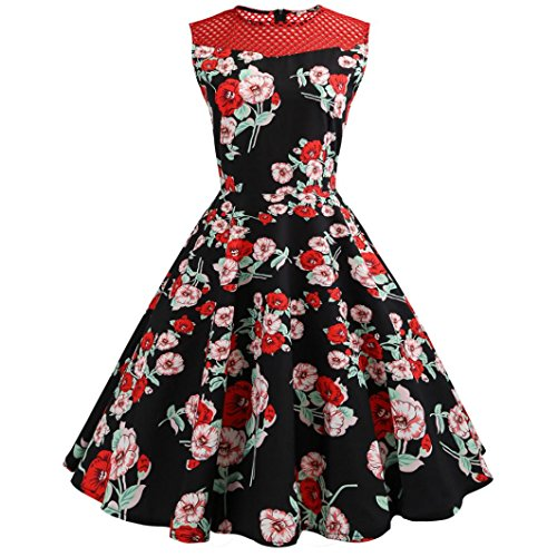 Women Sexy Floral Elegant Ball Gown Cocktail Dresses -Audrey Hepburn 1950s Vintage Rockabilly Swing Tea Dress (USS/TagL, Red (Floral Garters)