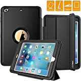 iPad Mini Case, SEYMAC Smart Case with Three Layer Heavy Duty Auto Sleep Wake Function Cover Drop Proof [Rugged] Full Body Protective Case for Apple iPad mini 1st/ 2nd/ 3rd Generation (Black)