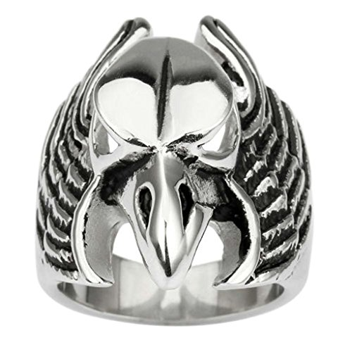 Alimab Jewelery Men's Stainless Steel Rings Owl Head Silver Black Size 8 (Black Canary Boots)