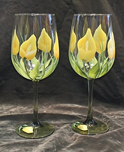 Hand Painted Wine Glasses Set of 2 Calla Lily Yellow on Green Stem Glasses
