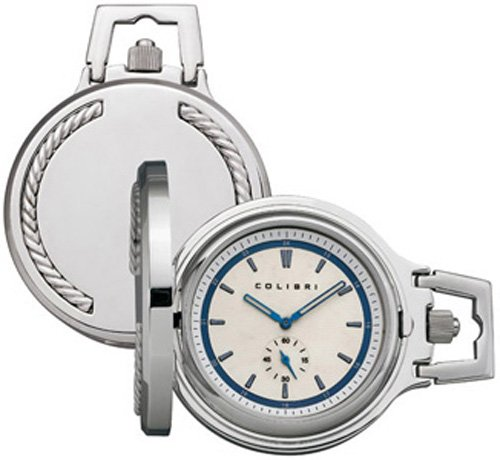Colibri Static Collection Stainless Steel & Sterling Silver Quartz Pocket Watch PWQ099500S