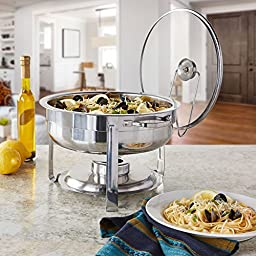 Artisan Stainless Steel Round Buffet Chafer with Glass Lid, 4-Quart Capacity