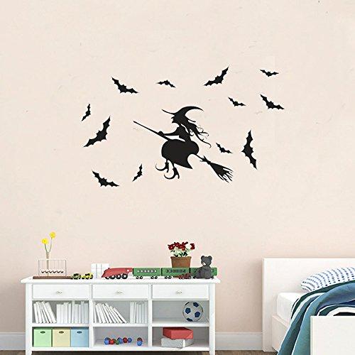 3D Halloween Decorations Wall Decor DIY Wall Sticker Decal Bat Witch Removable Home Decoration Art Mural (Diy Halloween Wall Decor Bats Paper Sticker)