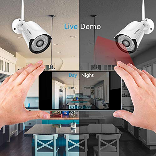 1080P Wireless Security Camera System,SAFEVANT 8 Channel Outdoor Indoor Wireless NVR Systems 8PCS 2MP Home Surveillance IP Cameras Night Vision Motion Detection