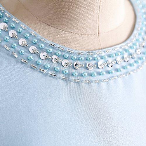 Abendkleider O Kurz Damen ärmellos Ballkleider Champagner Linie Elegantes Gürtel Rosa Ausschnitt Satin A mit Perlen AFPq1W