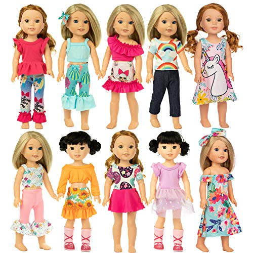 ZITA ELEMENT 10 Sets American 14.5 Inch Wellie Doll Clothes Outfits Dresses Pajamas Hair Clips for 14 Inch Girl Wishers Dolls