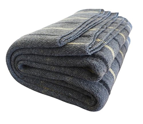 Woolly Mammoth Woolen Company Farmhouse Collection Stargazer Wool Blanket (Gray/Yellow Plaid) (Finish Bed Wood Country)