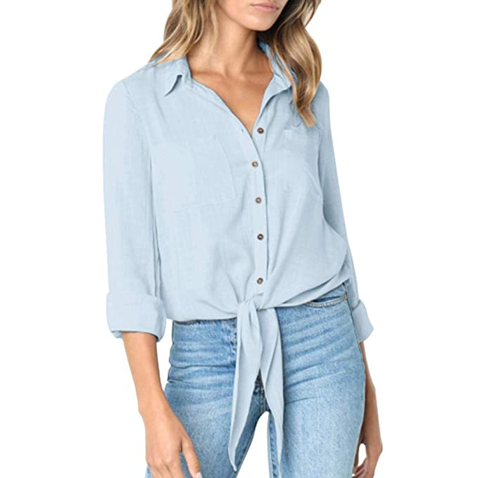 8d9975eb100b Damen Crop Top Langarm Button-Down Bandage Shirt Tops Bluse  Amazon.de   Bekleidung