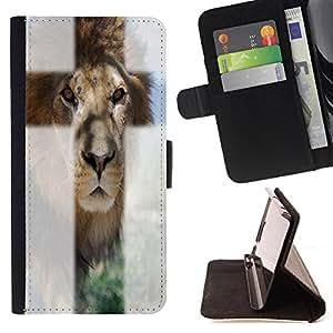 King Case - FOR LG OPTIMUS L90 - I'm behind you - Prima caja de la PU billetera de cuero con ranuras para tarjetas, efectivo Compartimiento desmontable y correa para la mu?eca