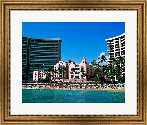 Hotel on The Beach, Royal Hawaiian Hotel, Waikiki, Oahu, Hawaii, USA Framed Art Print Wall Picture, Wide Gold Frame, 28 x 24 inches