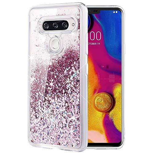 Caka LG V40 ThinQ Case, LG V40 ThinQ Glitter Case [Liquid Series] Luxury Fashion Bling Flowing Liquid Floating Sparkle Glitter TPU Bumper Case for LG V40 ThinQ 2018 - (Rose Gold)