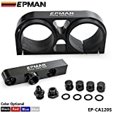 EPMAN Billet Aluminium Assembly Twin Dual Double 044 Fuel Pump Outlet Manifold With Mounting Bracket (Black)