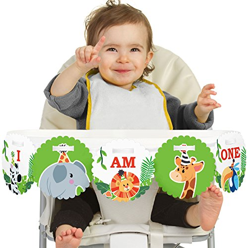 - Big Dot of Happiness Jungle Party Animals 1st Birthday - I Am One - First Safari Zoo Animal Birthday High Chair Banner