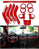 Interior Accessories Best Deals - Full Set Interior Decoration Trim Kit Cover Special Marked For Jeep Wrangler Cab 4 Door 2011-15 (Red)