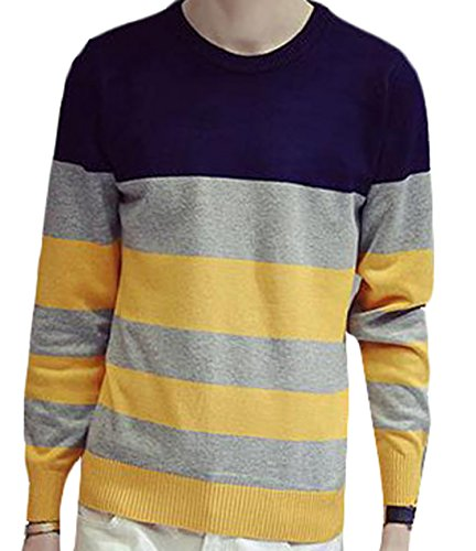 XQS Men Slim Fit Striped Stitching Crewneck Sweater navy blue US M