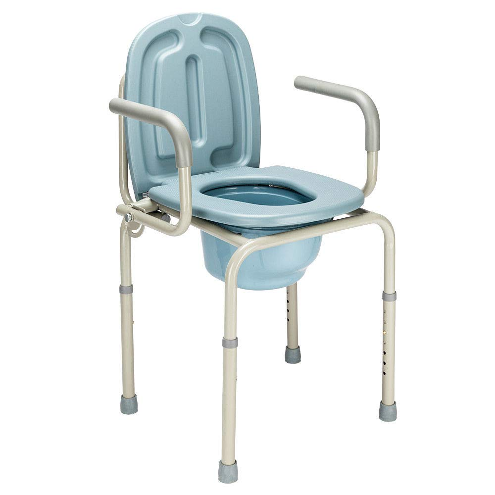 Height Adjustable Bedside Commode Seat Toilet Potty Chair Toilet Safety Frame Portable Versatile Multifunctional Elderly Disabled Handicapped People Hospital Medical Slip-Resistant Rubber Tips Chair