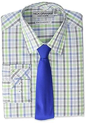 Nick Graham Men's Stretch Modern Fit Plaid Dress Shirt and Solid Tie Set
