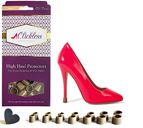 Neutral Heel (CLICKLESS High Heel Protectors - Heel Caps - 7 Pairs/7 Sizes (Neutral))