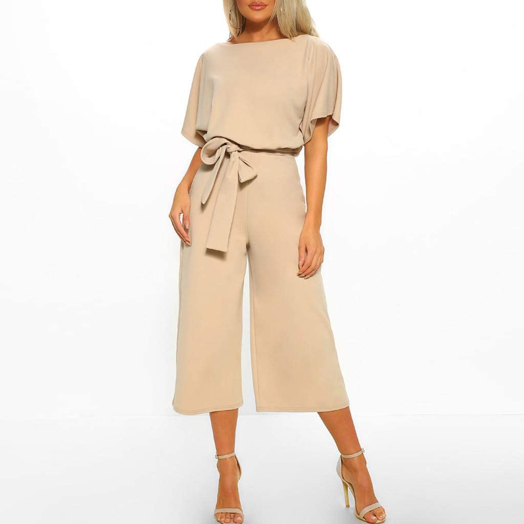Satingdianzi Women Summer Short Sleeve Playsuit Clubwear Straight Leg Jumpsuit with Belt