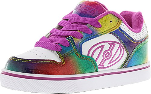 Heelys Kid's Motion Plus Skate Shoe Fashion Sneaker - White/Rainbow/Hot Pink - Girls - 1
