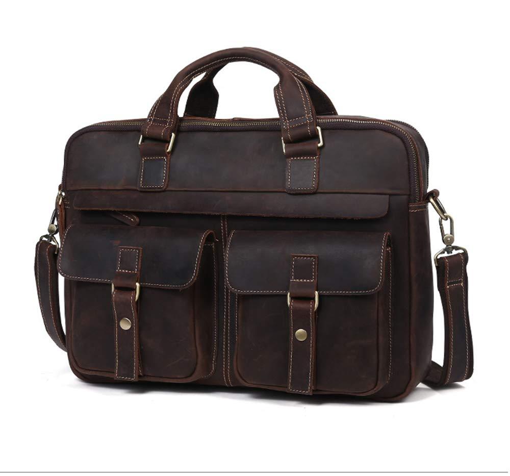 ROOKLY Echtes Leder Messenger Bag Wasserdichte Vintage Large 15,6 Zoll Laptop-Taschen Für Herren Und Damen Handtasche Aktentasche Notebook,grau