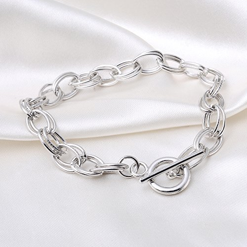 RUBYCA 5Pcs Toggle Clasp Silver Color Charm Rolo Bracelet Double Oval Link (Rolo Toggle)