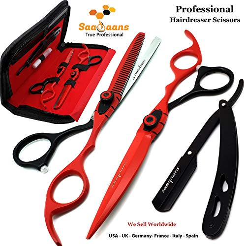 Barber Scissors - Saaqaans MSS-04 Professional Barber Scissors Set - Package includes Haircut Scissor, Thinning Shear, Straight Razor, 10 x Derby Double Edge Blades & Hair Comb in Stylish Scissor Case (Red & Black USA)