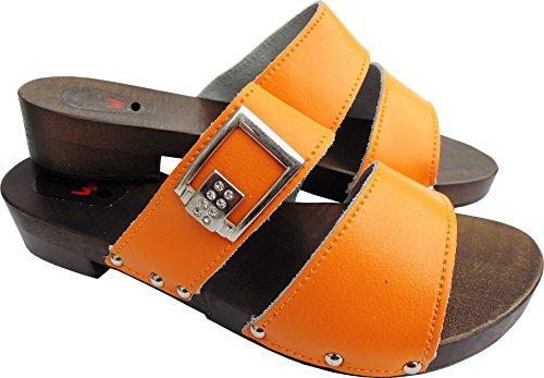 Lusy011 Holz (e) Clogs - Pantolette Gr.37, 38, 39, 40, 41 Orange, Echt Leder