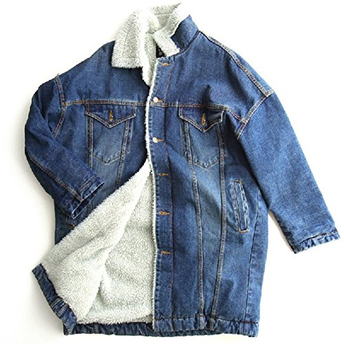 Donna Jeans Lunga Giacca Capispalla Giacche Cappotti Sezione Caldo Cappotto Casual Blu Outerwear Spesso fSnwqrf
