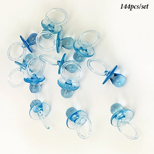 Adorox 144 Small Blue Acrylic Baby Pacifiers Baby Shower Decoration Table Scatter (144 Pieces) Blue Pacifier Favors