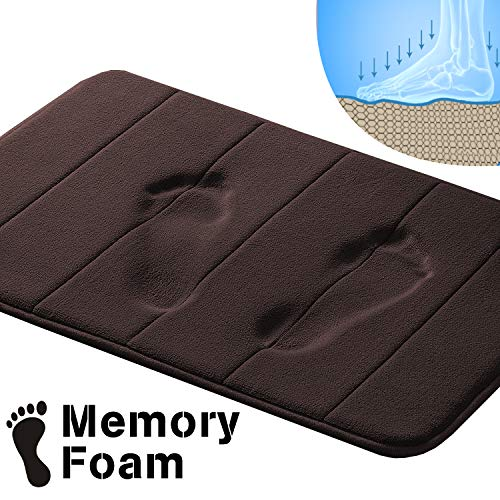 Flamingo P Soft Non Slip Absorbent Bath Rugs Bathroom Rug Set Memory Foam Bath Mats for Bathroom (Brown Striped Pattern, Size: W17 x L24)