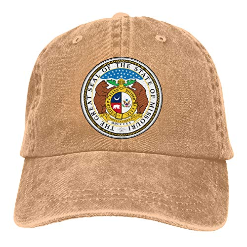 NTJPMY Unisex The Great Seal of The State Missouri Hats Adjustable Denim Fashion Baseball Caps