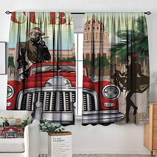 White Curtains Cuba,Country Tourism Advertisement Theme Vintage Design Cigar Smoking Man and Dancing Girl,Multicolor,Decorative Curtains for Living Room and Bedroom 42