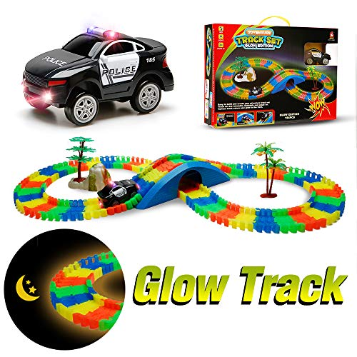 Aole Race Tracks for Boys, Glow Race Car Track Set Toy Educational Twisted Flexible Tracks154 Pcs with Electric Police Car Rockery Tree Arch Bridge Toys for Kids(Black)