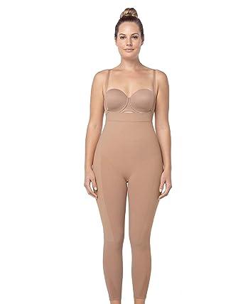 3750fe5318 Leonisa Invisible Tummy Control Bodysuit Shapewear Leggings for Women with  Leg Compression Shorts,Beige,