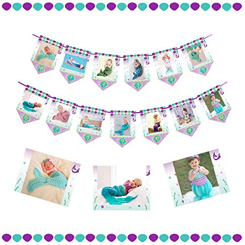 Yaaaaasss! Mermaid Photo Banner Newborn to 12 Months Banner Little Mermaid Themed Girls First Birthday Party ()