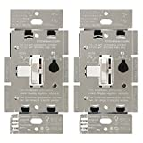 Lutron TGCL-153PH-2-WH Toggler 150-Watt Single Pole/3-Way LED/CFL Dimmer (2 Pack), White