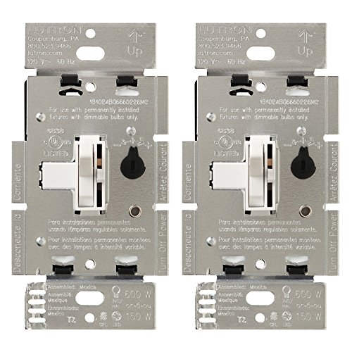 Lutron Toggler C.L Dimmer Switch for Dimmable LED, Halogen and Incandescent Bulbs, Single-Pole or 3-Way (2-Pack), TGCL-153PH-2-WH, ()