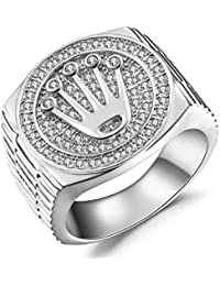 Sterling Silver Crown Cubic Zirconia Ring for Men, Valentines Day Gifts for Men