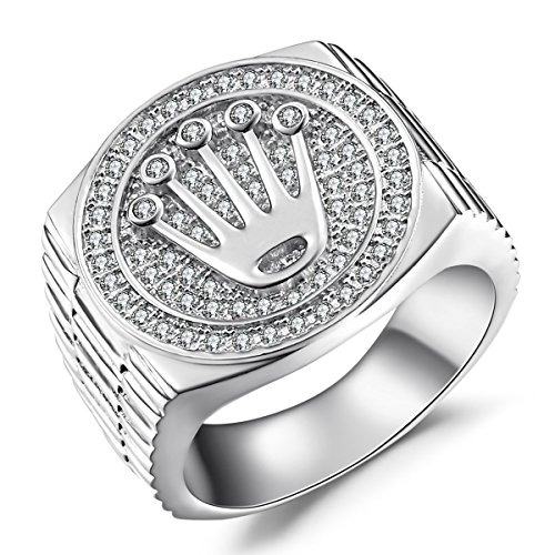 Caperci Men's Sterling Silver Crown Cubic Zirconia Ring Size 8