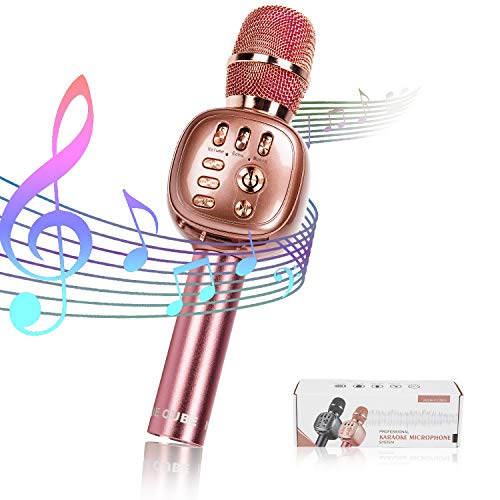 NINE CUBE Karaoke Microphone,3-in-1 portable Wireless Bluetooth karaoke Mic, karaoke player,colorful LED light, gift for friends and kids, compatible with all smart digital products (Rose gold)