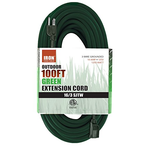 Iron Forge Cable 100 Ft Outdoor Extension Cord - 16/3 Durable Green Cable (Volt 100' Cord)