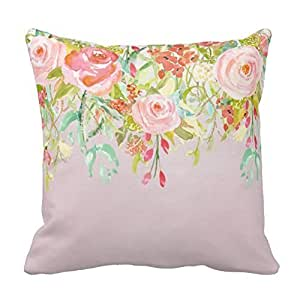 Generic Soft and Comfortable Pillows Pink Floral Garden Watercolor Pillow 18 x 18