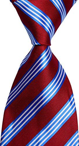 New Classic Striped Red Blue White JACQUARD WOVEN Silk Mens Tie Necktie
