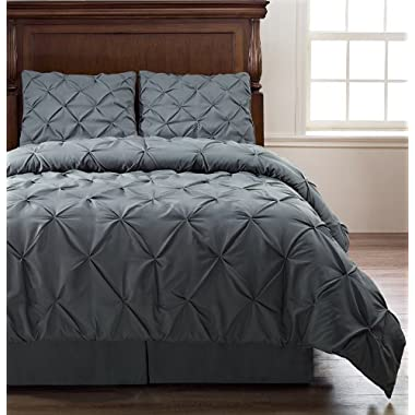 Pinch Pleat Comforter Set - 4-Piece - by ExceptionalSheets, Cal King, Charcoal