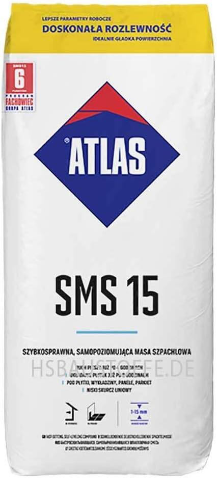 Ausgleichsmasse selbstverlaufend schnellbindend f/ür innenbereich Zementbasis 1-15 mm ATLAS SMS 15 25Kg