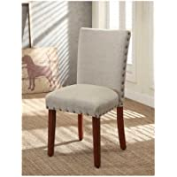 Tan Linen Dining Chair (Set of 2). Dining Chairs Go Perfect with Any Home. Best Dining Chairs Set Guaranteed. These Fabric Dining Chairs Can Be a Modern Addition to Your Home