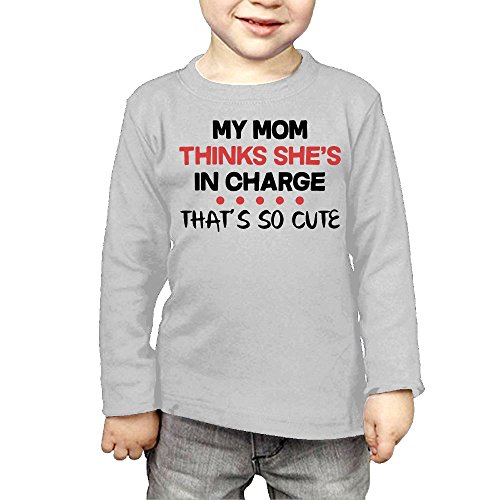 ZheuO Boys & Girls Baby My Mom Thinks She's In Charge That's So Cute Soft and Cozy 100% Cotton Tee Unisex Gray 3 Toddler
