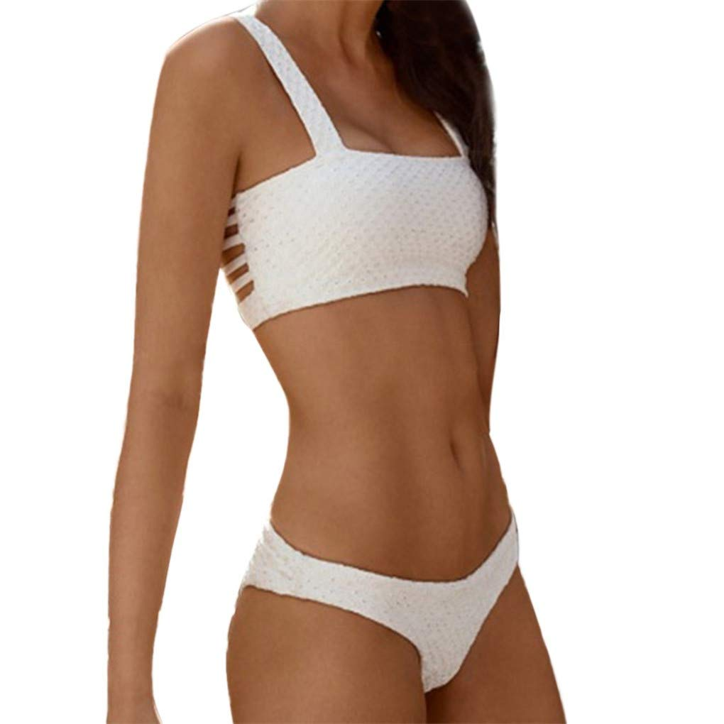fe154f06958 Amazon.com: WANQUIY Women's Two Piece Bikini Bandeau Surfing Swimsuit  Swimwear Bathing Suits Gold: Clothing